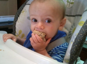 Here I am, munching my egg-free, low-sugar banana muffin for my first birthday.