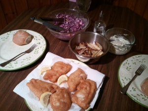 Fried cod with tartar sauce, slaw, and oven fries with vinegar