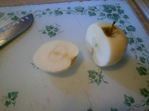"Just lop off the apples ""cheeks"" for a quick way to core them."