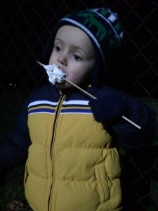Not only did I get this melty marshmallow all over my face, but I got it on my jacket and my mittens.