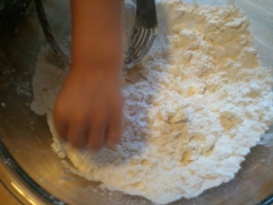 This is what your dough should look like before you add the water. Do YOU see any peas in there?