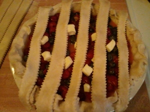 You can see the blueberries and cherries and cubes of butter peeking out like they're behind the bars of a crib.