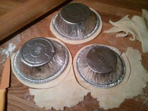 Turn a pie tin over onto the dough and cut the circles a little larger than that.