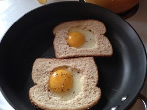 The eggs fit nicely in their little bread nests.