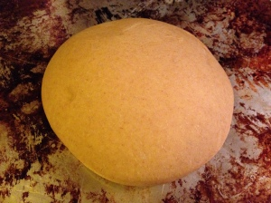 Here's the dough after it's doubled in size. It's smooth and puffy.