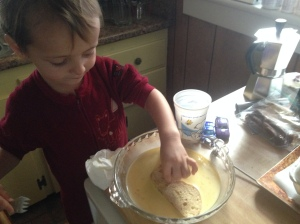 I used my hands to dip and turn the sliced bread to get it coated in nog mixture. Mama likes to use a fork.
