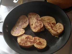The French toast is super golden, which makes it extra yummy.