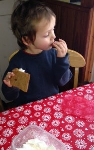 You can't see it, but there's melted chocolate on that graham cracker.