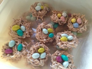 We used peanut butter M&Ms and malted eggs, but jelly beans would've worked too…if we had any left.