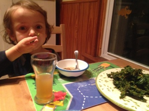Thats a big plate of kale chips and a little bowl of soup.